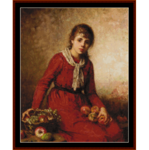 girl with fruit - harlamoff cross stitch pattern by cross stitch collectibles