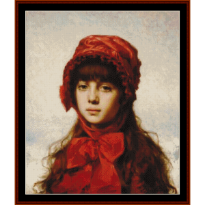the red bonnett - harlamoff cross stitch pattern by cross stitch collectibles