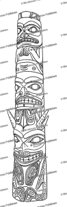 haida totem pole (sculpin, dogfish, sea monster), franz boas, 1897
