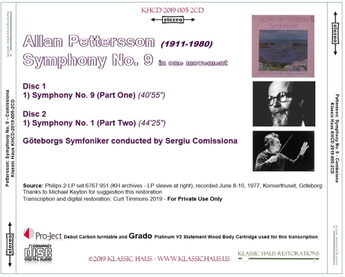 First Additional product image for - Allan Pettersson - Symphony No. 9 - Göteborgs Symfoniker conducted by Sergiu Comissiona