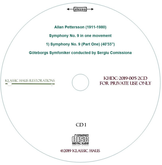 Third Additional product image for - Allan Pettersson - Symphony No. 9 - Göteborgs Symfoniker conducted by Sergiu Comissiona