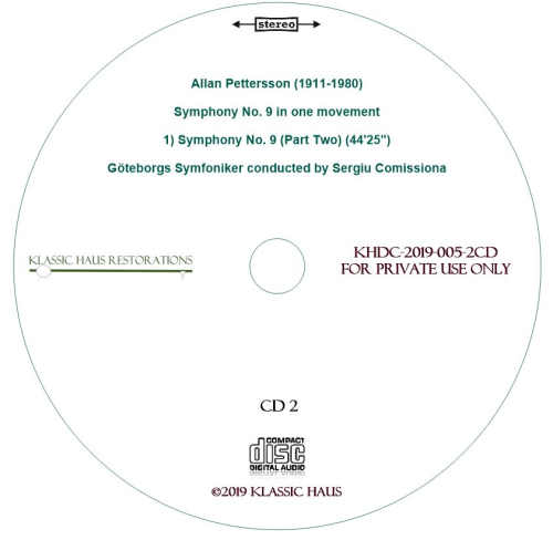 Fourth Additional product image for - Allan Pettersson - Symphony No. 9 - Göteborgs Symfoniker conducted by Sergiu Comissiona