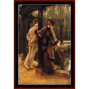 quarreling - tissot cross stitch pattern by cross stitch collectibles
