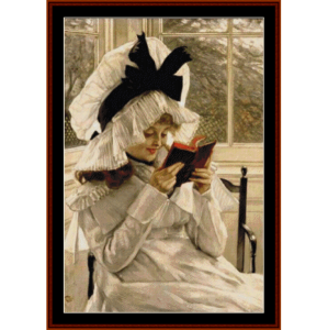 reading a book - tissot cross stitch pattern by cross stitch collectibles