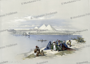 pyramids of gezeeh [giza], view from the nile, david roberts, 1846