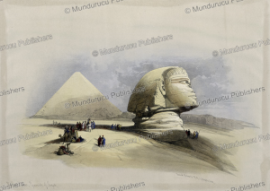 side view of the great sphinx, egypt, david roberts, 1846