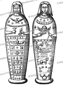 egyptian sarcophagus of husband and wife, athanasii kircheri, 1678
