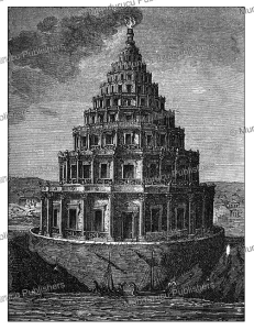 the lighthouse of alexandria, c.f. klimsch, 1868