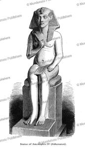 statue of amenhotep iv (akhenaten), egypt, august ramsthal, 1878