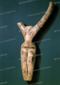 decorated clay figurine from nagada, 4000 bc, egypt