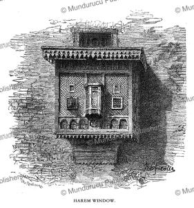 mashrabiya or harem window in tanta, egypt, bernhard fiedler, 1878