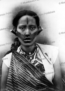 girl from formosa (taiwan) with traditional face tattoo, 1966