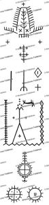 shawiya or chaouai berber protective (ahajam) tattoo patterns, t. rivie`re et j. fauble´e, 1942