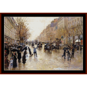Blvd. Poissonniere in the Rain - Beraud cross stitch pattern by Cross Stitch Collectibles | Crafting | Cross-Stitch | Other