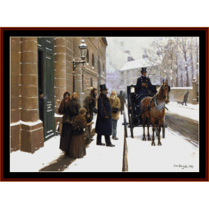 departure of the bourgeois - beraud cross stitch pattern by cross stitch collectibles