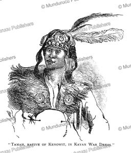 Kenowit in Kayan war-dress, Borneo, B.U. Vigors, 1849 | Photos and Images | Travel