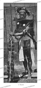 a malay warrior with shield decorated with human hair, borneo, henry ling roth, 1896