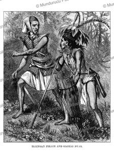 dayak warrior and a pirate, johann baptist zwecker, 1870
