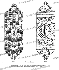 kenyah shield from sarawak decorated with human hair, borneo, henry ling roth, 1896