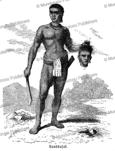 Dayak warrior with the slain head of an enemy, S. Friedmann, 1868 | Photos and Images | Travel