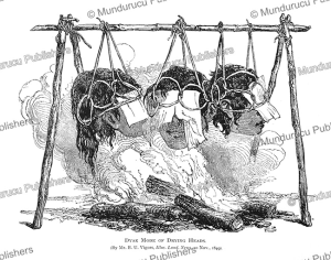 Dayak mode of drying heads, Borneo, B.U. Vigors, 1849 | Photos and Images | Travel