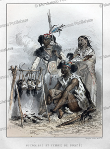 warriors smoking enemy heads, borneo, rouargue fre`res, 1840