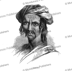 convict with murder tattooed on his forehead, borneo, frank s. marryat, 1848