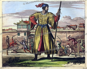 the chinese army practise their skills on prisoners, china, olfert dapper, 1670