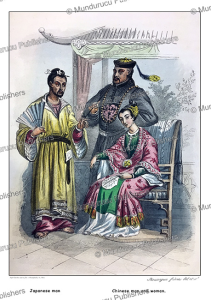 japanese man and a chinese couple, rouargue fre`res, 1866