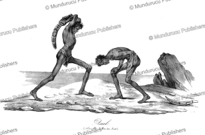 two aboriginals fighting, australia, nicolas maurin, 1839