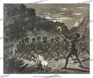 aboriginals performing the palti dance or corrobboree, australia, johann baptist zwecker, 1870