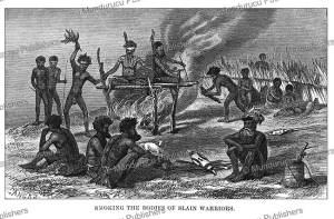 smoking the bodies of slain enemies, australia, george french angas, 1870