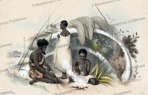 natives of encounter bay making cord for fishing nets, south australia, james william giles, 1847