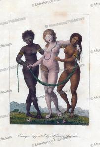 three women representing africa, europe and america, william blake, 1792