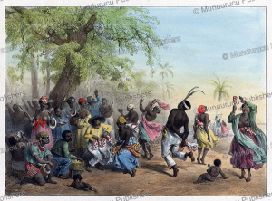 "group of slaves dance ""the dou"", surinam, pierre jacques benoit, 1840"