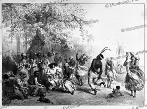 "Group of slaves dance ""The Dou"", Surinam, Pierre Benoit, 1839 