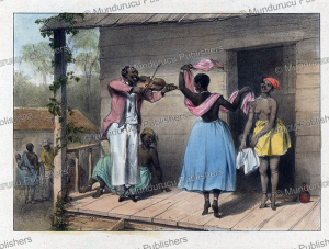 fiddler plays for a black slave, pierre jacques benoit, 1840