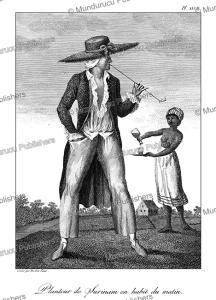 plantation owner with his morning ritual, surinam, tardieu l'ai^ne´, 1785