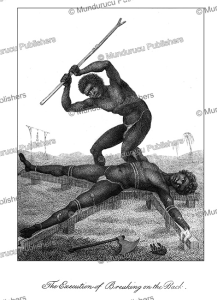 execution of a negro slave by breaking the back, surinam, john stedman, 1785