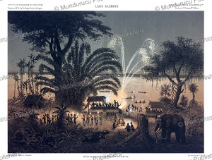 feast near champasak with fireworks illuminating the mekong, laos, eug. cice´ri, 1873