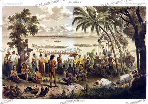 Rowing match between pirogues on the Mekong river near Champasak, Laos, Louis Delaporte, 1873 | Photos and Images | Travel