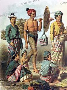 man from northern laos with traditional trouser tattoos, louis delaporte, 1873