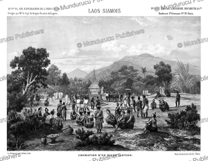 the cremation of a wealthy laotian, laos, louis delaporte, 1873