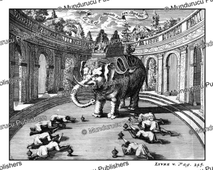 the king of siam seated on an elephant, 1687