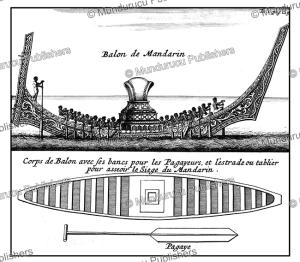 boat of a siamese mandarin, thailand, de la loubere, 1700