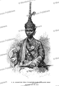 somdetch phra paramindr maha chulalongkorn or rama v, king of siam (thailand), e´douard riou, 1869
