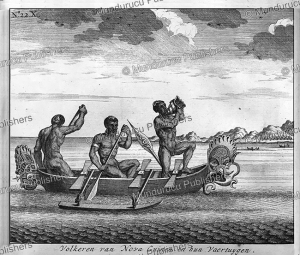 Carved canoe with natives of New Guinea, F. Ottens, 1726 | Photos and Images | Travel