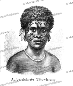 tattooed woman of tefte island (wari island), papua new guinea, otto finsch, 1879