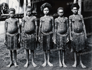 Waima girls showing their tattoos, New Guinea, H. M. Dauncey, 1910 | Photos and Images | Travel