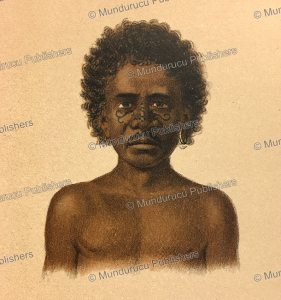 papua of dorey harbour with decorative face tattoos (pa), papua new guinea, f. w. van der waarde, 1893